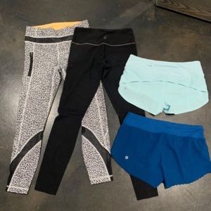 4x Lululemon Leggings & Shorts Lot Bundle size 4